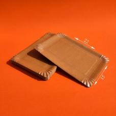 Тарелка бумажная КРАФТ ламинированная 15*22 (100 шт.)