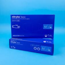 Перчатки нитриловые Nitrylex Basic М Синие (50 пар)