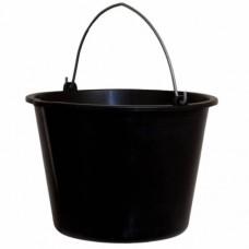 Ведро пластиковое черное 12 л с метал.ручкой