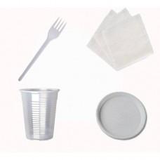 Набор №3 на 10 персон (стакан 200 мл, вилка, тарелка, салфетка)