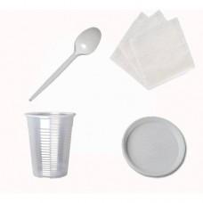 Набор №4 на 10 персон (стакан 200 мл, ложка, тарелка, салфетка)