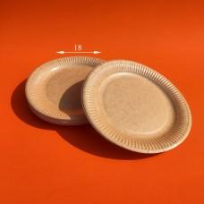 Тарелка бумажная КРАФТ ламинированная 18 см (100 шт.)